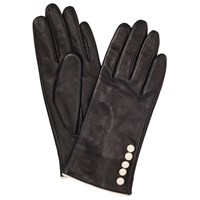 John Lewis Fleece Lined 5 Button Leather Gloves Black Cream