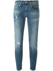 R 13 R13 Skinny Fit Distressed Jeans Blue