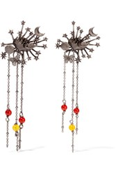 Valentino Silver Tone Beaded Earrings