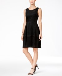 Tommy Hilfiger Faux Suede Perforated Fit And Flare Dress Black