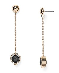 Aqua Adaline Chain Drop Earrings Black