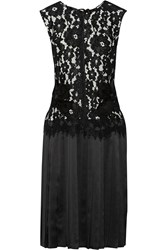 Marc Jacobs Corded Lace And Pleated Silk Satin Dress Black