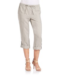 Lord And Taylor Rolled Linen Capri Pants Safari