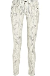 Rag And Bone The Skinny Low Rise Printed Stretch Twill Jeans White