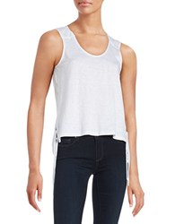 Red Haute Side Detail Linen Blend Tank Top White