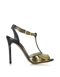 L'autre Chose Black And Bronze Metallic Leather Sandal