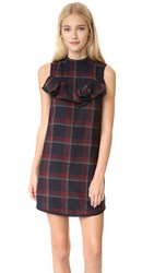Suno Plaid Ruffle Dress Wine Plaid