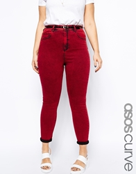 Asos Curve Exclusive Highwaist Jean In Acid Wash Red