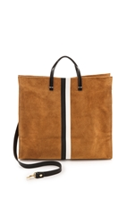 Clare V. Simple Tote Camel Suede W Black And White