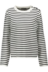 Maje Striped Stretch Knit Sweater Ivory
