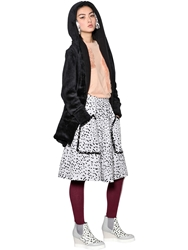 Tsumori Chisato Hooded Plush Zip Up Coat Black