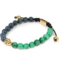 Nialaya Buddha Coral Malachite And Gold Plated Beaded Bracelet Blue Green