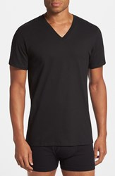 Calvin Klein Cotton V Neck T Shirt 2 Pack Big Black