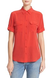 Equipment Women's Slim Signature Short Sleeve Silk Shirt French Red