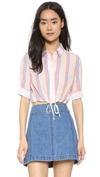 Solid And Striped The Woven Crop Shirt Red Blue Stripe