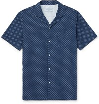 Officine Generale Camp Collar Polka Dot Cotton Shirt Blue