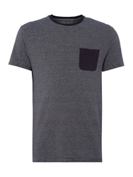 Linea Marcos Stripe Crew With Contrast Neck And Pocket Navy