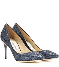 Jimmy Choo Esme 85 Glitter Pumps Blue