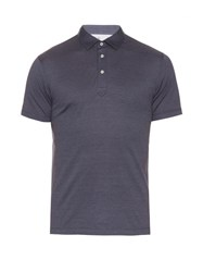 Brunello Cucinelli Cotton And Silk Blend Polo Shirt Mid Blue