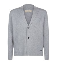 Burberry Wool Cashmere Knitted Blazer Male Grey