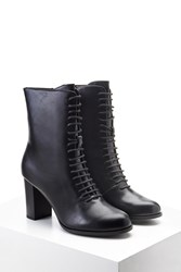 Forever 21 Faux Leather Lace Up Boots Black