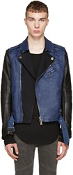 Balmain Black And Blue Denim Biker Jacket