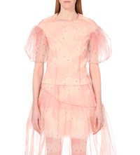 Simone Rocha Floral Print Tulle Top Pink