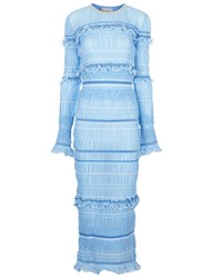 Peter Pilotto Blue Ruched Knit Fitted Dress Navy