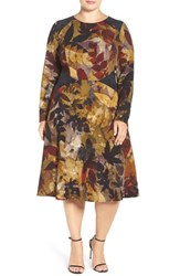 London Times Plus Size Women's Leaf Print Fit And Flare Dress