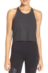 Alo Yoga Women's 'Shine' Racerback Crop Tank Charcoal Heather