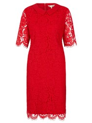 Yumi Shift Dress With Lace Red