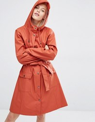 Rains Belted Long Jacket Rust Red