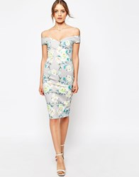 Asos Bardot Off The Shoulder Hitchcock Pencil Dress In Gray And Lime Floral Multi