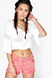 Boohoo Frayed Hem Denim Shorts Coral