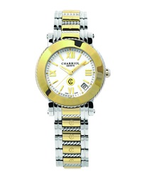 Charriol 33Mm 18K Gold And Stainless Steel Medium Parisii Three Hand Watch W White Dial