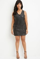 Forever 21 Plus Size Faux Leather Shift Dress Black
