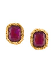Chanel Vintage Oversized Clip On Earrings Pink Purple