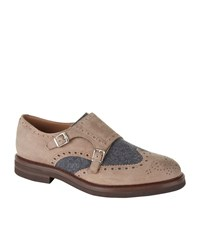 Brunello Cucinelli Suede And Wool Panelled Monk Shoes Male Brown