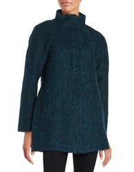 Anne Klein Wool Blend Zip Front Coat Teal Black