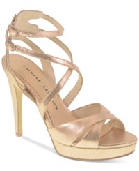 Chinese Laundry Highlight Platform Dress Sandals Women's Shoes Rose Gold Sparkle