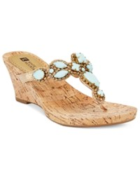 White Mountain Abra Embellished Wedge Sandals Women's Shoes Mint Multi