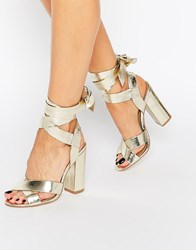 Truffle Collection Tie Ankle High Block Heel Sandals Rose Gold Cracked Copper