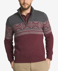 G.H. Bass And Co. Men's Geometric Colorblocked Quarter Zip Sweater Raven Heather