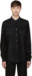 Juun.J Black Denim Mix Shirt