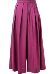 Muveil Pleated Wide Leg Cropped Trousers Pink And Purple