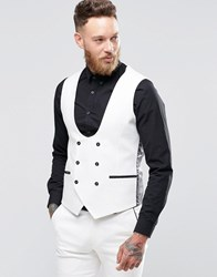 Noose And Monkey Super Skinny Db Vest With Contrast Piping And Stretch White