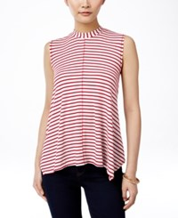 Styleandco. Style And Co. Sleeveless Mock Turtleneck Top Only At Macy's Ivory Red
