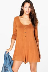 Boohoo Long Sleeve Button Front Swing Playsuit Tan