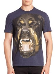 Givenchy Short Sleeve Graphic T Shirt Blue Brown