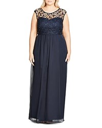 City Chic Sequin Lace Bodice Gown Navy Midnight